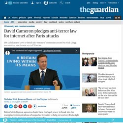 David Cameron pledges anti-terror law for internet after Paris attacks
