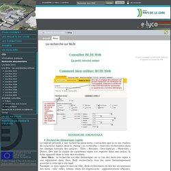 La recherche sur BCDI