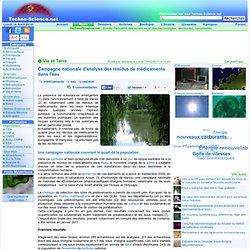 Campagne nationale d'analyse des résidus de médicaments dans l'eau
