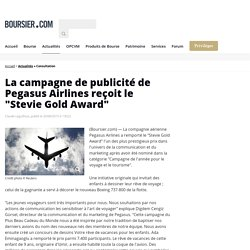 """La campagne de publicité de Pegasus Airlines reçoit le """"Stevie Gold Award"""""""