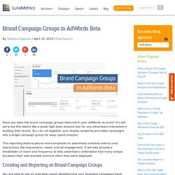 Brand Campaign Groups in AdWords Beta