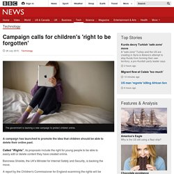 Campaign calls for children's 'right to be forgotten' - BBC News