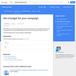 Set a budget for your campaign - Computer - AdWords Help