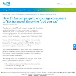 New £1.5m campaign to encourage consumers to'Eat Balanced;Enjoy the food you eat'