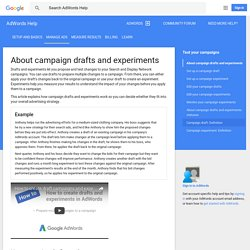 About campaign drafts and experiments - AdWords Help