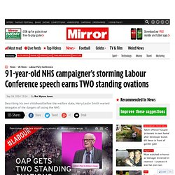 91-year-old NHS campaigner's storming Labour Conference speech earns TWO standing ovations