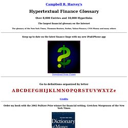 Finance Resources (HUUUUUGE) Campbell R. Harvey's Hypertext