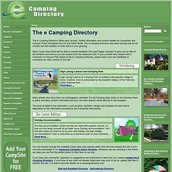 The e Camping Directory - first choice for finding a Campsite where you want to stay