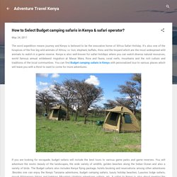 How to Select Budget camping safaris in Kenya & safari operator?
