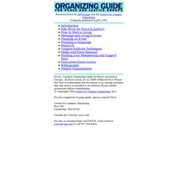 Campus Organizing Guide for Peace & Justice Groups