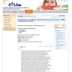 EFSA 28/01/10 EFSA confirms chicken meat major source of human cases of campylobacteriosis
