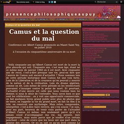 Camus et la question du mal