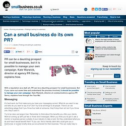 Can a small business do its own PR