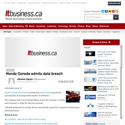 Honda Canada admits data breach