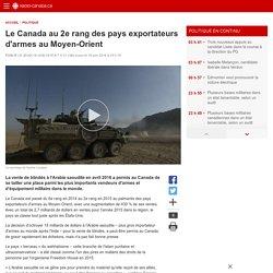 Le Canada au 2e rang des pays exportateurs d'armes auMoyen-Orient