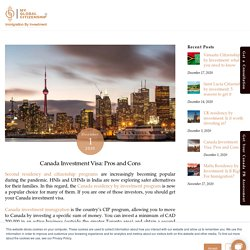 Canada investment visa: Pros and Cons