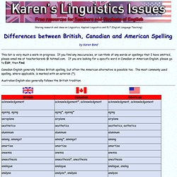 British, Canadian and American Spelling