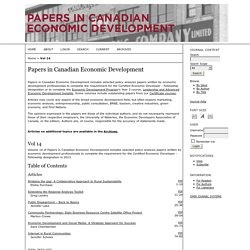 Papers in Canadian Economic Development