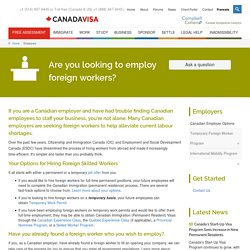 Canadian Employers Looking To Hire Foreign Workers