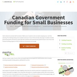 Canadian Government Funding - Small Business Grants