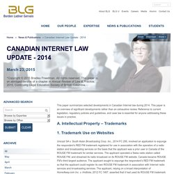 Canadian Internet Law Update - 2014