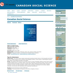 Canadian Social Science