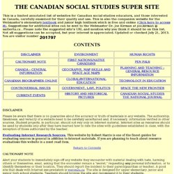 THE CANADIAN SOCIAL STUDIES SUPER SITE