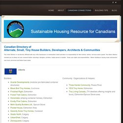 Canadian Sustainable Housing Directory - Tiny Home Alliance