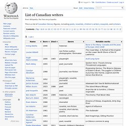 List of Canadian writers - Wikipedia