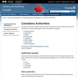Canadiana Authorities