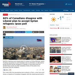 60% of Canadians disagree with Liberal plan to accept Syrian refugees: Ipsos poll