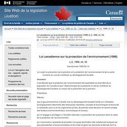 Loi canadienne sur la protection de l'environnement (1999)