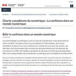 Charte canadienne du numérique : La confiance dans un monde numérique - Innover pour un meilleur Canada