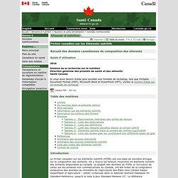 SANTE CANADA - Fichier canadien sur les éléments nutritifs.