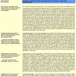 Fiche 98AEP15 : Matériaux constitutifs des canalisations d'eau potable - Avantages, inconvénients