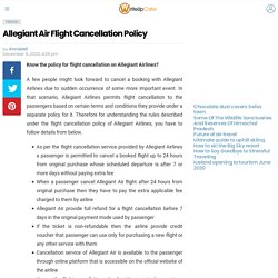 Allegiant Air Flight Cancellation Policy - WriteUpCafe.com