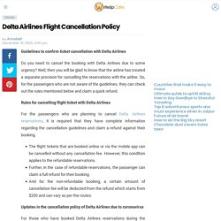 Delta Airlines Flight Cancellation Policy - WriteUpCafe.com