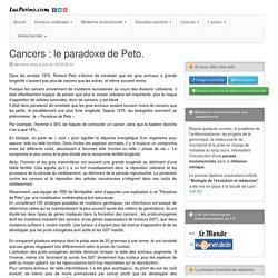 Cancers : le paradoxe de Peto.