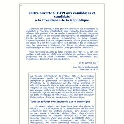 Éditorial : Lettre ouverte SIF-EPI aux candidates et candidats à la Présidence de la République.