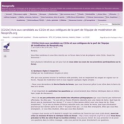[C2i2e] Avis aux candidats au C2i2e et aux collègues de la part de l'équipe de modération de Neoprofs.org