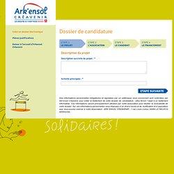Ark'ensol - Dossier de candidature Association - Créer un dossier électronique