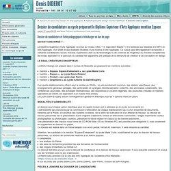 Dossier de candidature au cycle préparant le Diplôme Supérieur d'Arts (...) - Lycée Denis Diderot