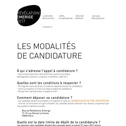 APPEL <br> À CANDIDATURE - RÉVÉLATIONS EMERIGE 2017