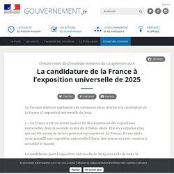 La candidature de la France à l'exposition universelle de 2025 - Compte rendu du Conseil des ministres du 14 septembre 2016
