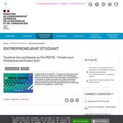 Ouverture des candidatures au Prix PEPITE - Tremplin pour l'Entrepreneuriat Étudiant 2020 - Ministère de l'Enseignement supérieur, de la Recherche et de l'Innovation