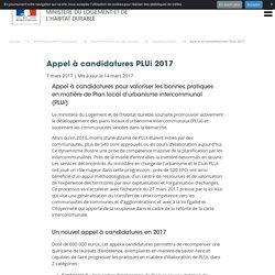 Appel à candidatures PLUi 2017 - Ministère du Logement et de l'Habitat durable