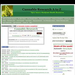 Cannabis Research - CANNABIDIOL - CBD - Cannabis Research A-Z