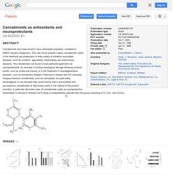 Patente US6630507 - Cannabinoids as antioxidants and neuroprotectants - Google Patentes