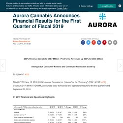 Aurora Cannabis Announces Financial Results for the First Quarter of Fiscal 2019