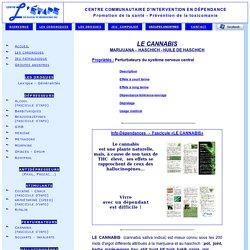 CANNABIS - MARIJUANA - HASCHICH / L'ÉTAPE inc.